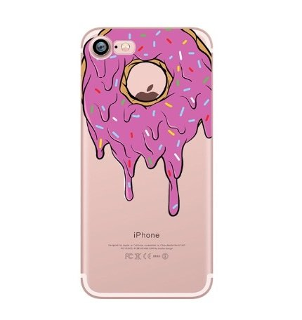 iPhone 5 / 5S / SE ,Delicacy Tart Sweet Love Donut Pizza Colorful Rubber Flexible Silicone Case Bumper for Apple Clear Cover (Melting Donut)