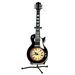 Tabletop Vintage Guitar Clock w/ Stand, Black