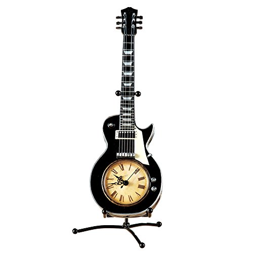 Collections Etc Tabletop Vintage Guitar Clock w/Stand, Black
