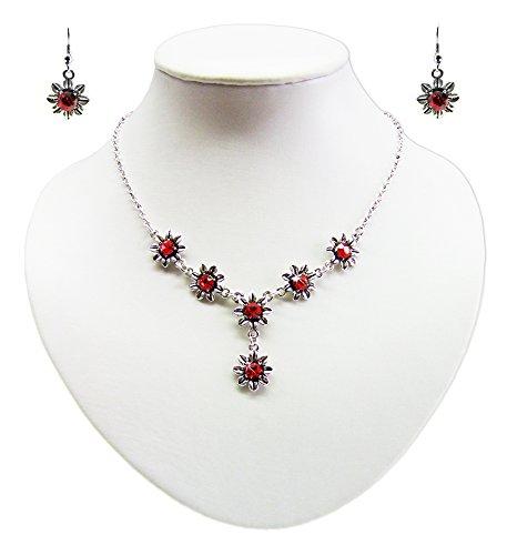 Blumen Collier mit Ohrhängern Rot - Zauberhafte Schmuck Sets bestehend aus Halskette und Ohrringen
