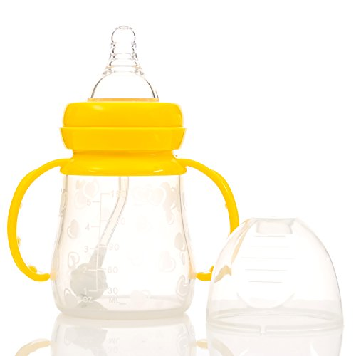 Baby With Bottle 2 Count for Formula Feeding from Infant Palace Offer Cheap Unique Milk Bottles & Natural Flow Nipple For Breastfed Newborn Babies, BPA Free and FDA Approved