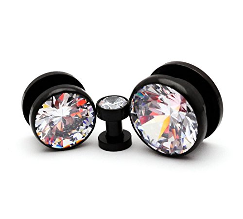 Mystic Metals Body Jewelry 316L Black Stainless Steel Screw on Plugs with Single Press Fit Clear CZ gauges (PS-125) - Sold as a Pair (6g (4mm))