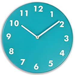 Silent wood wall clock (Deep teal)