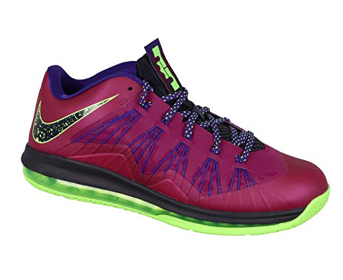 Nike Men's Air Max Lebron X Low Basketball Shoes (11, Raspberry Red/Blueprint-Court Purple-FLS - 579765 601)