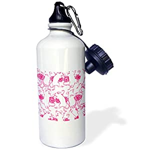 3dRose Russ Billington Patterns - Dancing Mouse Party Design in Magenta and White - 21 oz Sports Water Bottle (wb_262188_1)