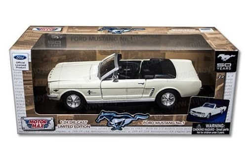 Motormax American Classics 1964 1/2 Ford Mustang Convertible Limited Edition 1/24 Scale Diecast Model Car White Cream (Mustang Convertible Model)