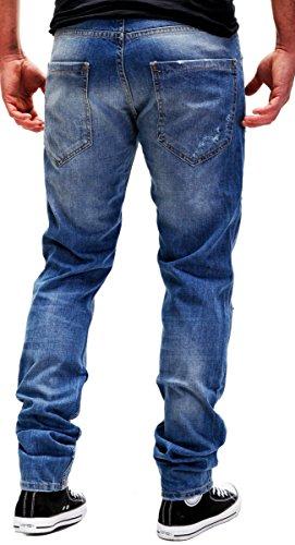 Elaborazione Gamba Tubo A Jeans 5 wash Dettagliato Decorative regularfit Contrasto Blu Altamente J2083 Merish Stile pocket Modello Distrutto Uomo nx80wqpp6Y