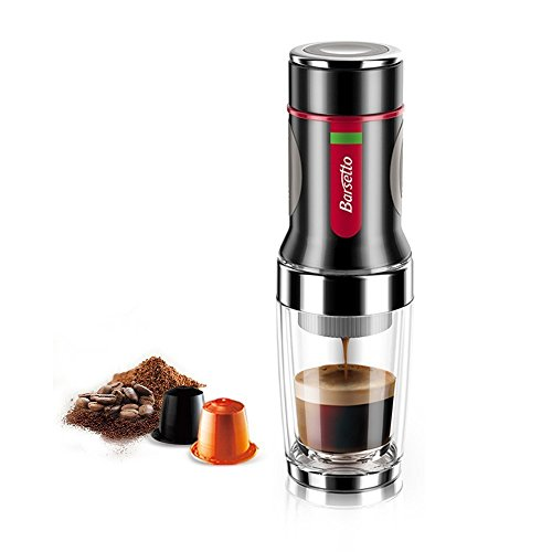 Press Coffee Maker Barsetto Portable Espresso Capsules and Ground Coffee Powder Coffee Machine for Hiking Camping and Picnic