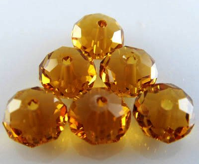 Beading Station 30-Piece Handmade Faceted Crystal Rondelle Beads, 6 by 8mm, Amber