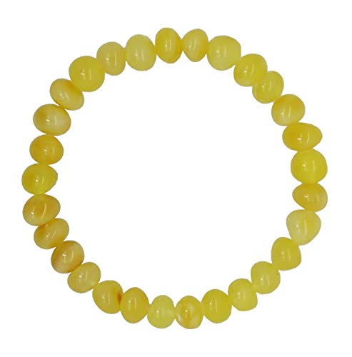 (Amberito Baltic Amber Adult Bracelet Handmade on Elastic Band 7 inches Long- Arthritis, Headache, migraine Pain Relief- Made from raw Amber Beads| Amber Bracelet for Women, Men, Teens (Yellow))