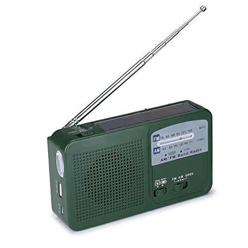 Tiemahun Dynamo Hand Crank AM/FM Solar Radio with SOS Alarm Siren LED Flashlight & Mobile Phone Charger, Emergency Survival Kit for Hurricane, Camping, Hiking, fishing 369FS (Green)
