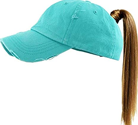 Image Unavailable. Image not available for. Color  Ponycap Messy High Bun  Ponytail Adjustable Solid Cotton Washed Baseball Cap Hat Turquoise Color 94e33e19079d