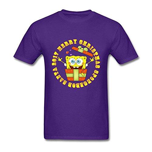 Geek Adult 2017 SpongeBob Santa 100% Cotton Short Sleeve T Shirt Purple L Custom Printed Costume