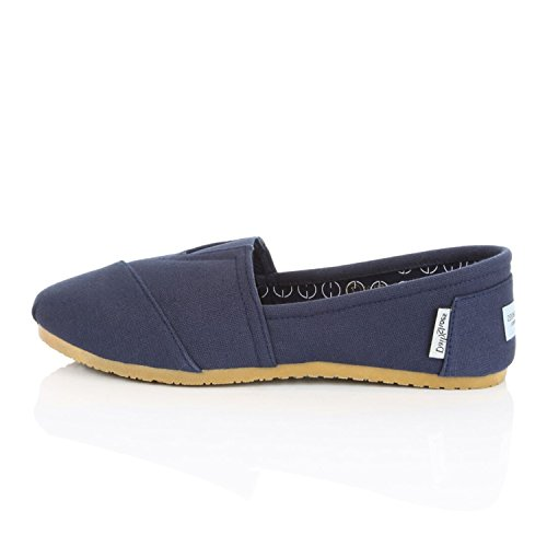 DailyShoes Womens Classic Flat Slip-On Comfort Loafer Sneaker Shoes With Raised Memory Foam Cushioned Massage Surface Elastic Top Flats Shoe Navy Linen EnLYd