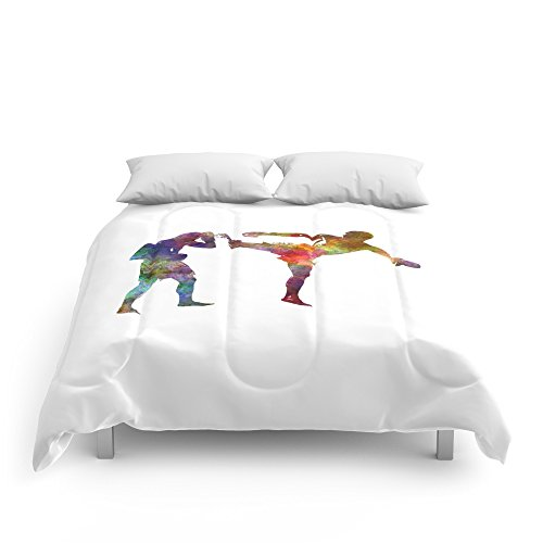 Society6 Two Men Exercising Thai Boxing Silhouette 01 Comforters Full: 79'' x 79'' by Society6