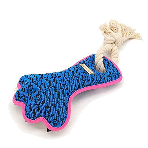 AXEN Cute Durable Tug Rope Squeaky Paw Shaped Dog Toy, Blue Paw