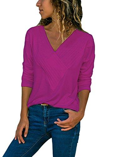 Col Couleur Tunique Longues Blouse Chemisier Ruch XXL Crois Shirt Shirt Violet Unie Dcontract Devant Femme Manches S T Casual V FIYOTE Top en EwaPxggq