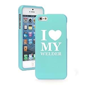 "Apple iPhone 6 Plus (5.5"") Snap On 2 Piece Rubber Hard Case Cover I Heart Love My Welder (Light Blue)"