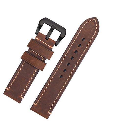 EACHE Crazy Horse Genuine Leather Handmade Watchband Black Hardware Dark Brown 22mm