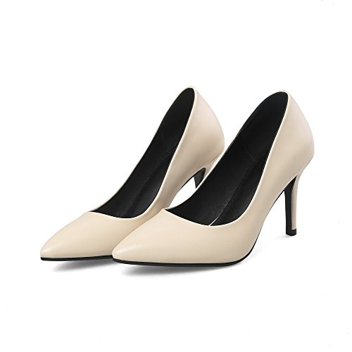 VogueZone009 Women's Spikes-Stilettos Soild Microfiber Pumps-Shoes Apricot wGfj9
