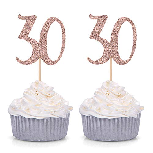 Giuffi Set of 24 Glitter Number 30 30th Birthday Cupcake Toppers Age Party