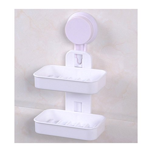 ZaH Double Soap Box Soap Holder Suction Plastic Soap Dish for Shower, Kitchen (White)