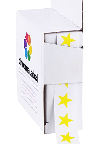 "3/8"" Yellow Star Stickers in Dispenser Box - 1,000 Labels per Box, Permanent Adhesive"
