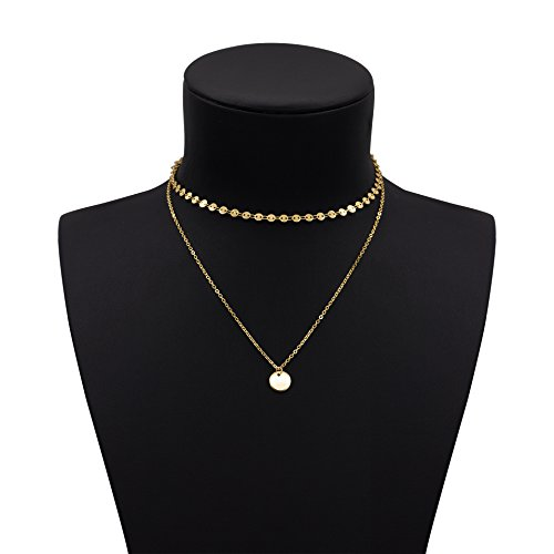 Geerier Simple Coin Choker Gold Chain Disc Choker Necklace Gold Color For Women Gold Layered Charm Necklace