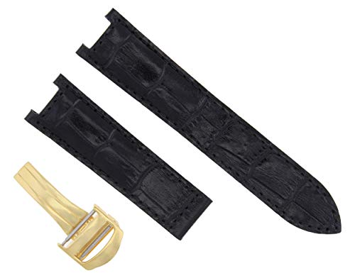 LEATHER BAND STRAP DEPLOYMENT CLASP FIT CARTIER PASHA 2475 18MM BLACK 1PC GOLD