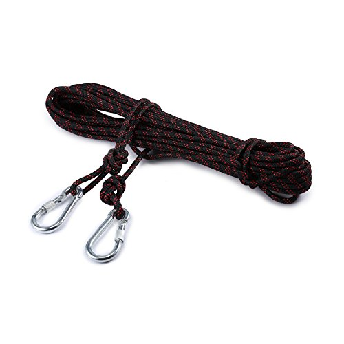 Outdoor Rock Climbing Safety Rope 10M(32ft)/15M(49ft)/20M(64ft)/30M(98ft) with Hooks,Diameter 8mm(0.03ft),9KN(900kg),for Outdoor Escape Rope, Camping Hiking Rope, Fire Rescue Parachute (Black, 15m)