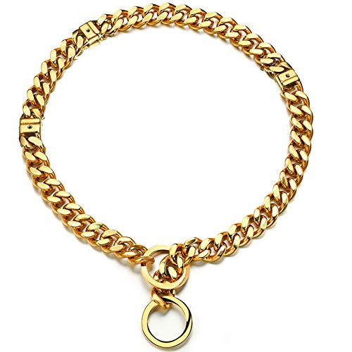 Adjusatble 18K Gold Slip Dog Collar Large Small Stianless Steel 15mm White Big Dog Puppy Necklace Choke Chain Training Collar Cuban Link for Big Small Dog 18 inch to 24 inch (L, Gold Adjustable)