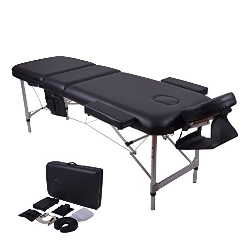 Windaze Massage Table Spa, 3 Section Adjustable Aluminum Leg Portable Massage Table with Carrying Bag and Additional Accessories, Black by windaze