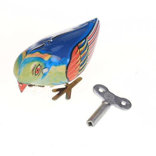 Retro Style Wind Up Blue Bird Toy Pecking Song ()