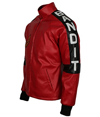 Leatherobe Smokey and The Bandit Burt Reynolds Red Bomber Cosplay Leather Jacket Costume (XL to fit Chest 46-47