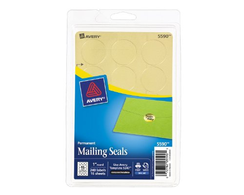 Avery Printable Mailing Seals, Gold Metallic, 1-Inch Round, Pack of 240 (5590) -