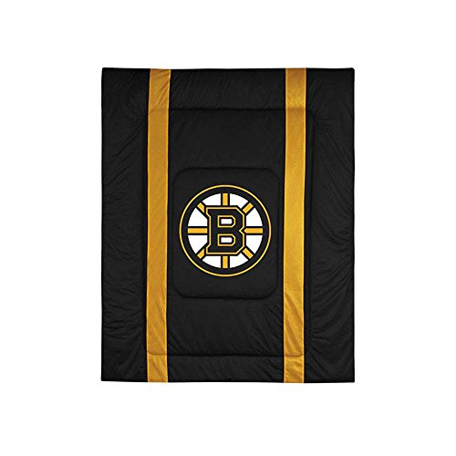 Boston Bruins Bedding - NHL Sidelines Comforter and Sheet Set Combo - - Jersey Bed Full Sidelines