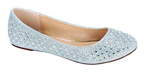 Baba-1 Women's Closed Toe Rhinestone Crystal Embellished Party Flat Shoe Silver 10