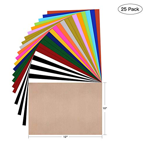 "HTV Heat Transfer Vinyl Bundle: 25 Pack Assorted Colors 12""x10"" Sheets, Iron On Vinyl for Cricut & Silhouette Cameo, BONUS Teflon for Heat Press Machine or Home Iron On DIY T-Shirts & Fabrics"