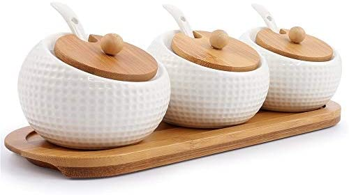 Porcelain Condiment Jar Spice Container with Lids – Bamboo Cap Holder Spot, Ceramic Serving Spoon, Wooden Tray – Best Pottery Cruet Pot for Your Home, Kitchen, Counter. White,170 ML (5.8 OZ), Set of 3