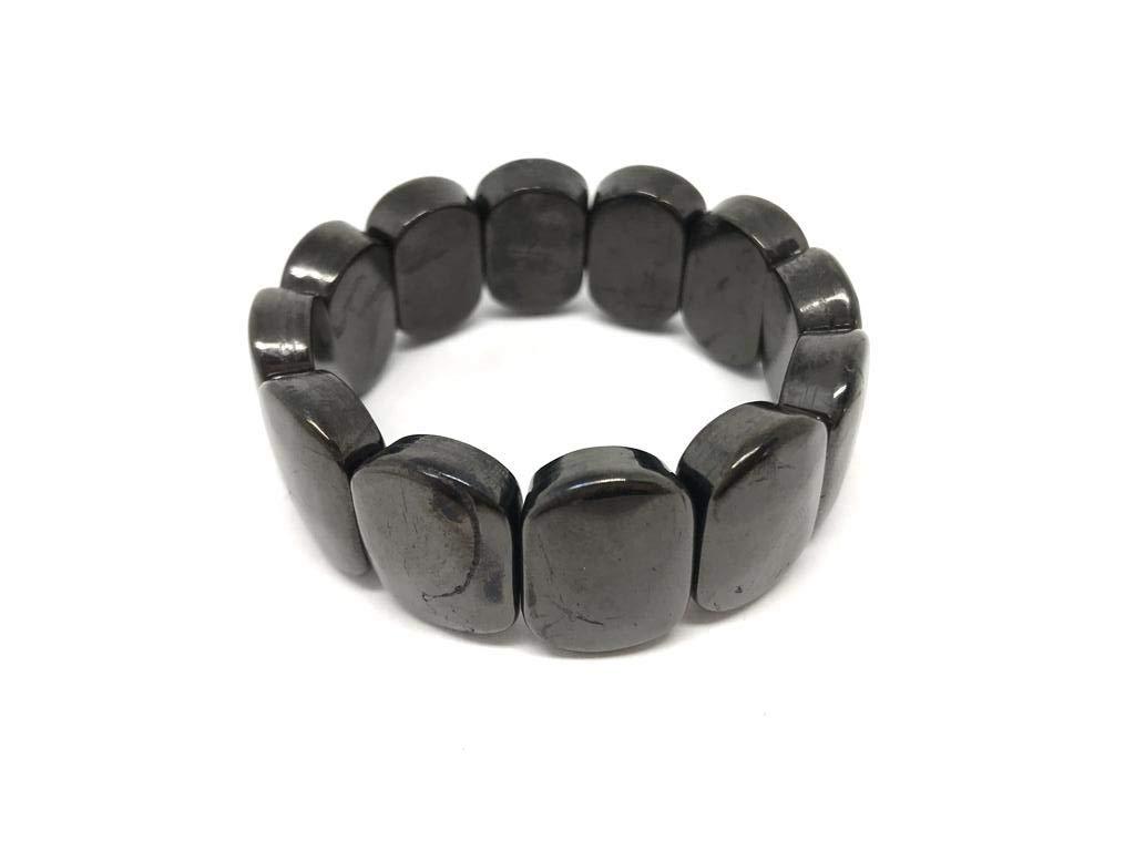 Karelian Heritage Petrovsky Shungite Bracelet with Big Oval Beads, Natural Grounding Jewelry PT06 by Karelian Heritage