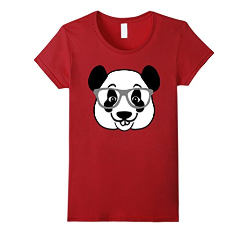 [Women's Emoji Animals - Panda Nerd With Glasses Geek Emoticon Tee Small Cranberry] (Cute Female Nerd Costumes)