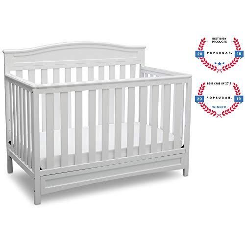 Delta Children Emery 4-in-1 Convertible Baby Crib, White - English Cherry Frame