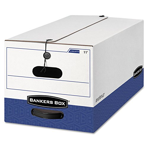 Bankers Box 0001103 Liberty Heavy-Duty Strength Storage Box, Letter, 12 x 24 x 10, White/Blue, 4/CT