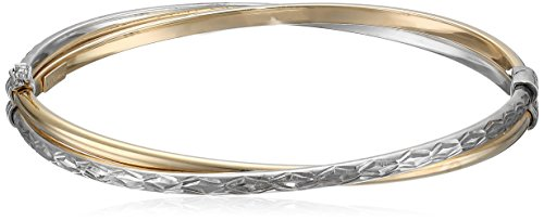 14k Gold-Bonded Sterling Silver Two-Tone Crossover Bangle Bracelet, (Crossover Bangle Bracelet)