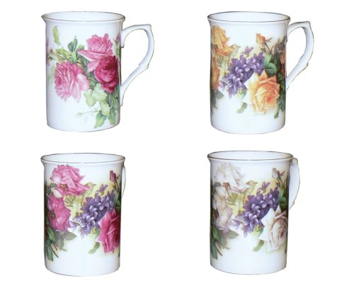 Pink Rose Bone China - Gracie Bone China Classic English Garden Rose 10-Ounce Mug with Gold Trim, Assorted Set of 4
