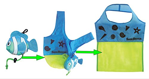 Sand Dipper Expandable Mesh Tote Bag | Cute Fish Nylon Bag (Blue) (Scoop Seashell)