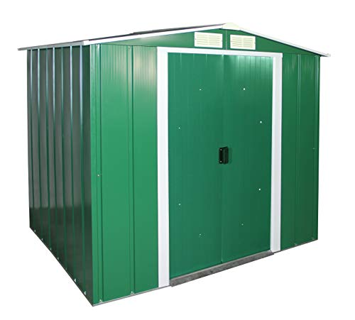 Duramax-ECO-6-x-6-Hot-Dipped-Galvanized-Metal-Garden-Shed-Green-with-Off-White-Trimmings-15-Years-Warranty