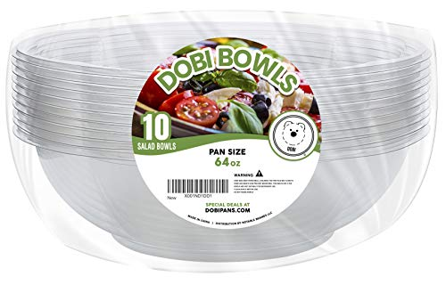 DOBI Serving Bowls (10 Pack) 64oz - Clear Plastic Disposable Containers with Lids, Family Size. Great for a Party or When You Wish to Take Your Treats with You