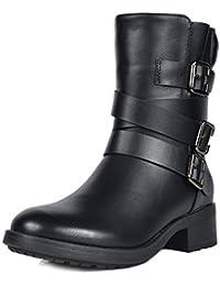 Women's Mid Calf Riding Combat Boots