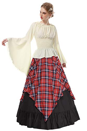 ROLECOS Womens Renaissance Medieval Costume Trumpet Sleeve Peasant Shirt and Skirt Red Plaid XXL -